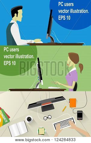 Three Vector Workplace Concept Flat Illustration. Man and Woman Working On Desktop Computer.