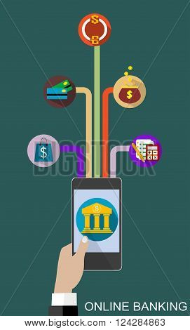 Flat design vector illustration concepts of online banking service. Icons for online payment gataway, mobile payments, electronic funds transfers and bank wire transfer.