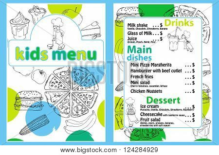 Cute colorful kids meal menu vector template with funny cartoon kitchen boy. Different types of dishes on a hand drawn grocery background.