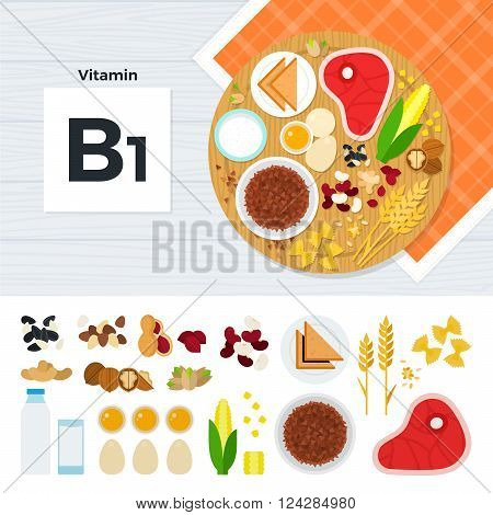 Vitamin B1 vector flat illustrations. Foods containing vitamin B1 on the table. Source of vitamin B1: meat, corn, porridge, eggs, milk, nuts, bread isolated on white background
