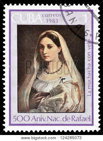 CUBA - CIRCA 1983 : Cancelled postage stamp printed by Cuba, that shows Portrait of a woman.