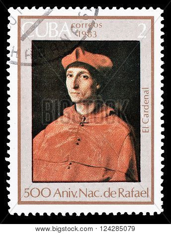 CUBA - CIRCA 1983 : Cancelled postage stamp printed by Cuba, that shows Portrait of Cardinal.