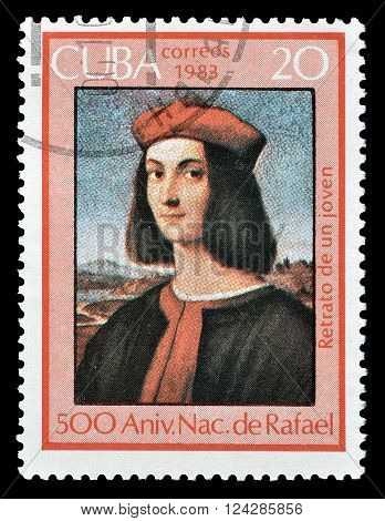 CUBA - CIRCA 1983 : Cancelled postage stamp printed by Cuba, that shows Portrait of Pietro Bembo.