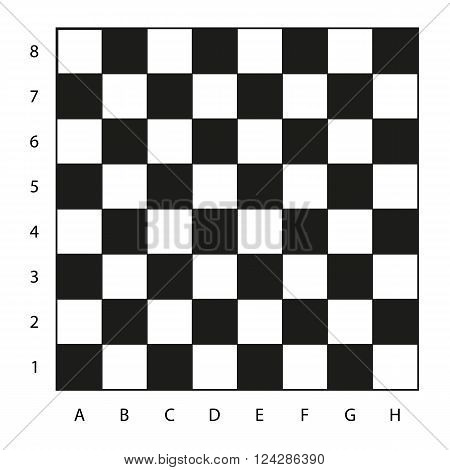 Chessboard with coordinates illustration isolated on white ready for your play