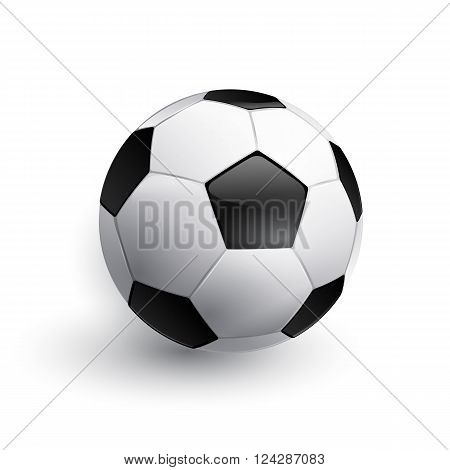 Realistic soccer ball isolated on white. Vector Football ball.