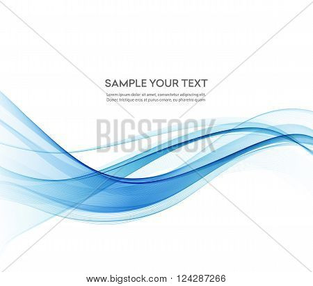 Abstract color blue wave design element. Vector Blue wave background. Blue transparent wave