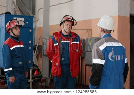 IVANGOROD, LENINGRAD OBLAST, RUSSIA - MARCH 29, 2016: Emergency training at Narvskaya Hydroelectric Power Plant. Built in 1956 at the border between Russia and Estonia, it has nameplate capacity 125MW