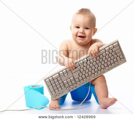 Little Child With Keyboard