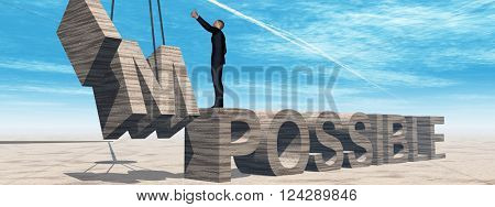 3D illustration concept conceptual 3D illustration of business man standing over abstract stone impossible text on sky background banner