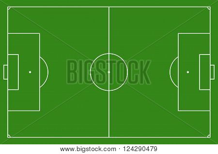 Soccer field, vector illustration. Football field with lines and areas. Marking the football field.