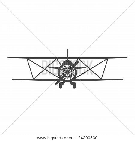 Biplane. Retro airplane illustration. Vintage plane front view. Isolated vector illustration. Plane icon.