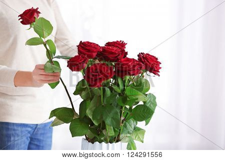 Woman putting red roses into vase indoors