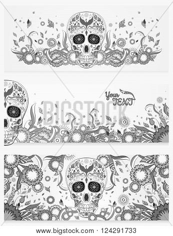 Monochrome banners of Dia de Muertos mexican sugar skull with ornate on an abstract floral spring background. Illustration in shades of gray with lots of ornates, Phoenix. design for Day of The Dead.