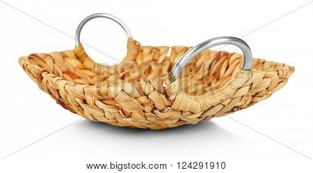 Wicker salver with metal handles isolated on white
