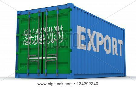 Export of Saudi Arabia. Freight container on a white surface with inscription