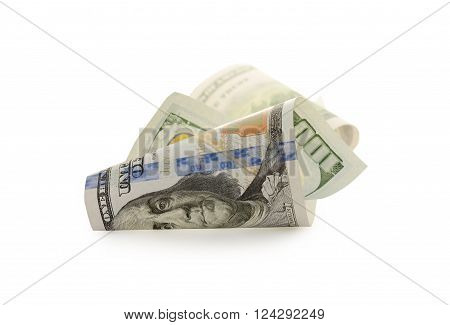One Hundred Dollar Bills isolated on white background