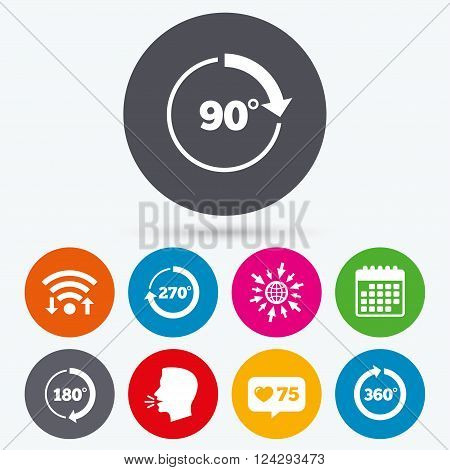 Wifi, like counter and calendar icons. Angle 45-360 degrees circle icons. Geometry math signs symbols. Full complete rotation arrow. Human talk, go to web.