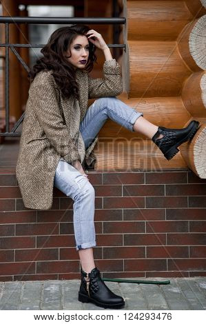 Spring In The Country Style. Full Length Portrait Of Young Woman In White Knitted Sweater And Furry