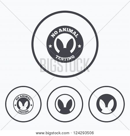 No animals testing icons. Non-human experiments signs symbols. Icons in circles.