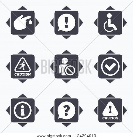 Icons with direction arrows. Caution and attention icons. Question mark and information signs. Injury and disabled person symbols. Square buttons.