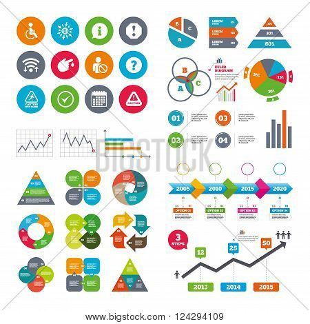 Wifi, calendar and web icons. Attention notification icons. Question mark and information signs. Injury and disabled person symbols. Diagram charts design.