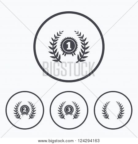 Laurel wreath award icons. Prize for winner signs. First, second and third place medals symbols. Icons in circles.