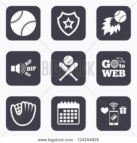 Mobile payments, wifi and calendar icons. Baseball sport icons. Ball with glove and two crosswise bats signs. Fireball symbol. Go to web symbol.