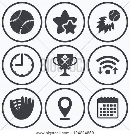 Clock, wifi and stars icons. Baseball sport icons. Ball with glove and two crosswise bats signs. Fireball with award cup symbol. Calendar symbol.