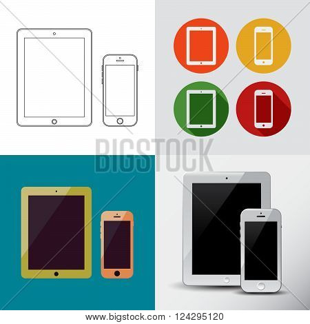 Outline Drawing Smart Tablet And Phone Similar To Ipad And Smartphone.