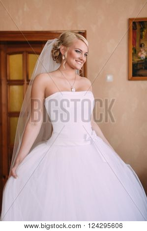 Portrait Of Beautiful Bride With Fashion Veil Posing At Home At