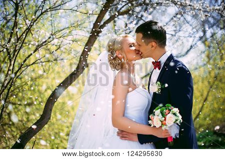 Kissing Wedding Couple In Spring Nature Close-up Portrait. Kissi