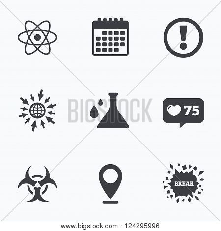 Calendar, like counter and go to web icons. Attention and biohazard icons. Chemistry flask sign. Atom symbol. Location pointer.