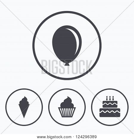 Birthday party icons. Cake with ice cream signs. Air balloon symbol. Icons in circles.