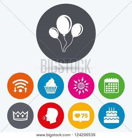 Wifi, like counter and calendar icons. Birthday crown party icons. Cake and cupcake signs. Air balloons with rope symbol. Human talk, go to web.