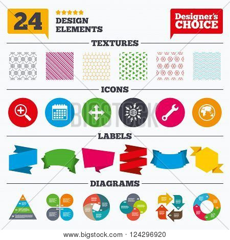Banner tags, stickers and chart graph. Magnifier glass and globe search icons. Fullscreen arrows and wrench key repair sign symbols. Linear patterns and textures.