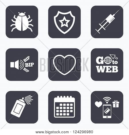 Mobile payments, wifi and calendar icons. Bug and vaccine syringe injection icons. Heart and spray can sign symbols. Go to web symbol.
