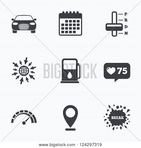 Calendar, like counter and go to web icons. Transport icons. Car tachometer and automatic transmission symbols. Petrol or Gas station sign. Location pointer.