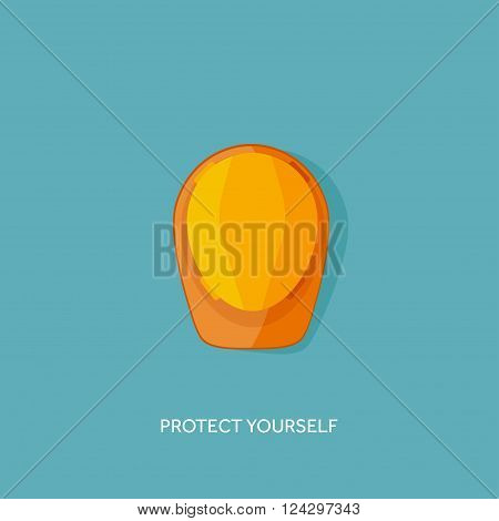 Vector illustration. Flat hard hat. Engineering, building. Protection. Plastic helmet.