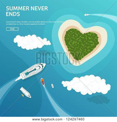Vector illustration. Tropical island. Summer holidays, vacation. Sun, ocean, sea. Travel. Blue lagoon. Oasis, seascape. Boats.
