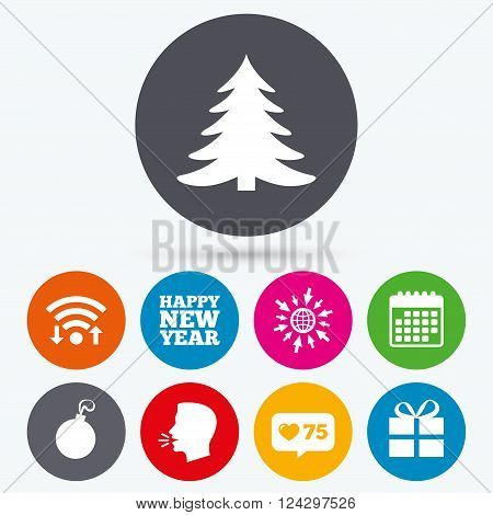 Wifi, like counter and calendar icons. Happy new year icon. Christmas tree and gift box sign symbols. Human talk, go to web.