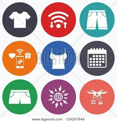Wifi, mobile payments and drones icons. Clothes icons. T-shirt and bermuda shorts signs. Swimming trunks symbol. Calendar symbol.