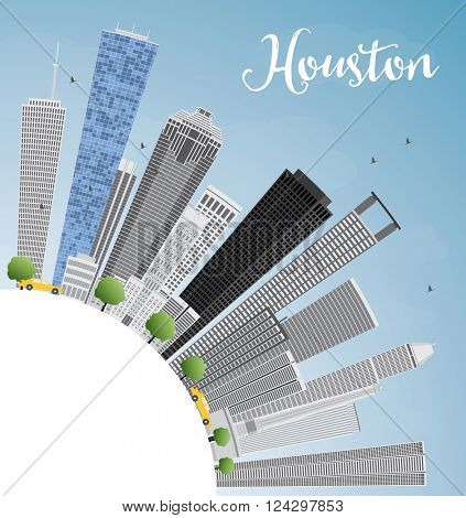 Houston Skyline with Gray Buildings and Blue Sky. Vector Illustration. Business Travel and Tourism Concept with Copy Space. Image for Presentation Banner Placard and Web Site.