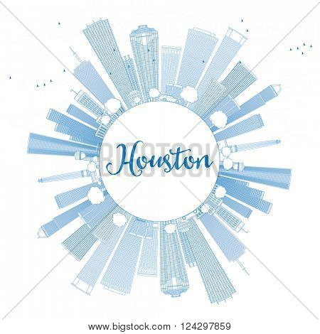 Outline Houston Skyline with Blue Buildings. Vector Illustration. Business Travel and Tourism Concept with Copy Space. Image for Presentation Banner Placard and Web Site.