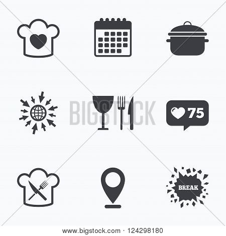 Calendar, like counter and go to web icons. Chief hat with heart and cooking pan icons. Crosswise fork and knife signs. Boil or stew food symbol. Location pointer.
