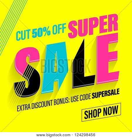 Typographic sale composition in vibrant  glitch colors on yellow background.