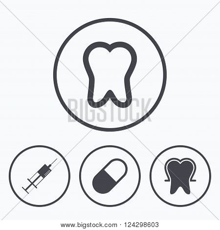 Tooth enamel protection icons. Medical syringe and pill signs. Medicine injection symbol. Icons in circles.