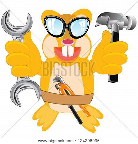 Cartoon merry animal beaver with tools on white background is insulated