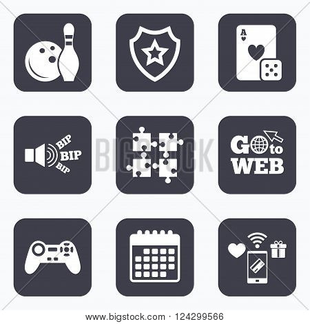 Mobile payments, wifi and calendar icons. Bowling and Casino icons. Video game joystick and playing card with puzzles pieces symbols. Entertainment signs. Go to web symbol.