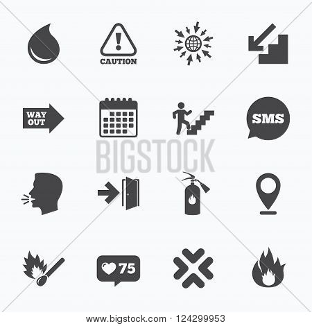 Calendar, go to web and like counter. Fire safety, emergency icons. Fire extinguisher, exit and attention signs. Caution, water drop and way out symbols. Sms speech bubble, talk symbols.