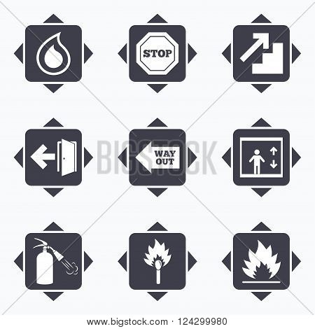Icons with direction arrows. Fire safety, emergency icons. Fire extinguisher, exit and stop signs. Elevator, water drop and match symbols. Square buttons.
